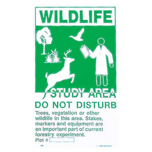 Plastic Posted and Boundary Sign, Wildlife Study Area