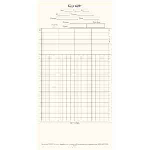 Forestry Suppliers Tally Sheets for Tally Books, Pack of 100