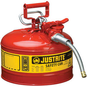 Justrite Type II AccuFlow Safety Can, Red, 2-1/2 Gallon