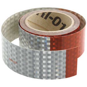 "Red/White Reflective Truck Tape, 2"" x 50 Yard Roll"