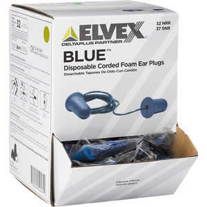 Elvex Blue Foam Earplugs, Corded, Box of 100 pairs