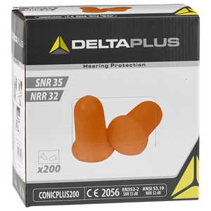 Delta Plus Conic Plus Foam Earplugs, Without Cord, Box of 200 pairs