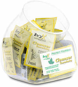 IvyX Post Contact Skin Cleanser, Fish Bowl of 50 Towelettes