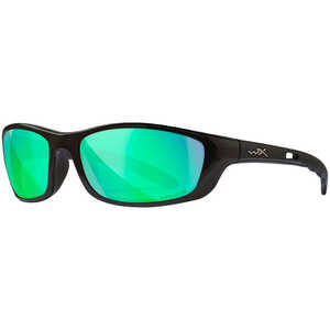 Wiley X P-17 Safety Glasses, Gloss Black Frame with Polarized Emerald Mirror Lens