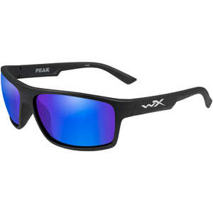 Wiley X Peak Safety Glasses, Matte Black Frame with Polarized Blue Mirror Lens