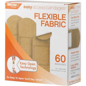 Easy Access Bandages, 60 Count, Fabric Strips, 1˝ x 3˝
