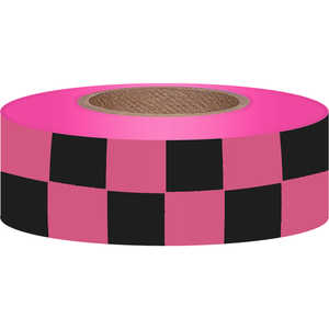 Checkered Pink Glo/Black Flagging, 150'
