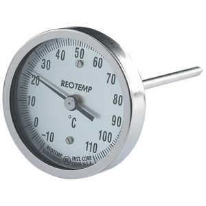 "Reotemp Stainless Steel Bi-Metal Thermometer, 12"", -10°C to +110°C"
