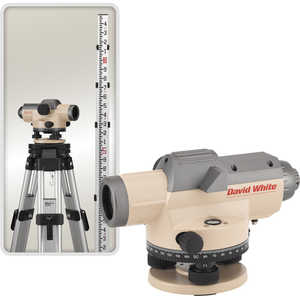 David White AL8-26 Automatic Optical Level Kit with aluminum tripod and 13´ leveling rod graduated in 10ths