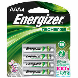 Energizer NiMH Batteries, AAA Cell, Rechargeable, 4 Pack