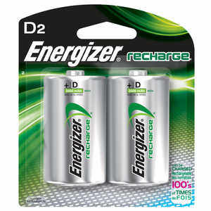 Energizer NiMH Batteries, D Cell, Rechargeable, 2 Pack