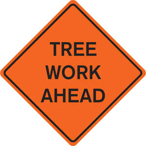 "48"" x 48"" Mesh Sign, ""TREE WORK AHEAD"""