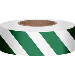 "Presco Stripe Vinyl Flagging, Green/White, 1-3/16""W x 300'L"