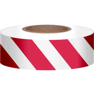 "Presco Stripe Vinyl Flagging, Red/White, 1-3/16""W x 300'L"