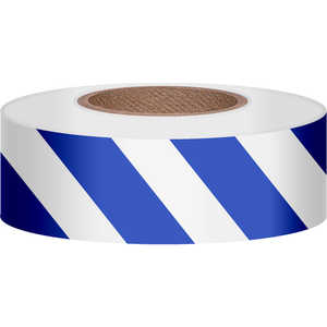 "Presco Stripe Vinyl Flagging, Blue/White, 1-3/16""W x 300'L"