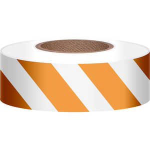 "Presco Stripe Vinyl Flagging, Orange/White, 1-3/16""W x 300'L"