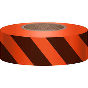 "Orange/Black, Presco Stripe Vinyl Flagging, 1-3/16""W x 300'L"