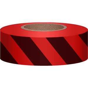 "Red/Black, Presco Stripe Vinyl Flagging, 1-3/16""W x 300'L"