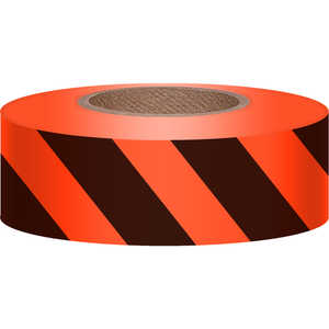 "Orange Glo/Black, Presco Stripe Vinyl Flagging, 1-3/16""W x 150'L"