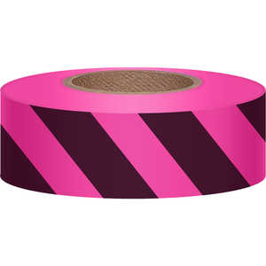 "Pink Glo/Black, Presco Stripe Vinyl Flagging, 1-3/16""W x 150'L"