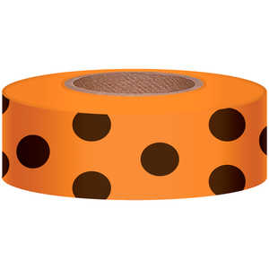 "Polka-Dot Vinyl Flagging, Black Dot on Orange, 1-3/16"" x 300'"