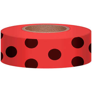 "Polka-Dot Vinyl Flagging, Black Dot on Red, 1-3/16"" x 300'"