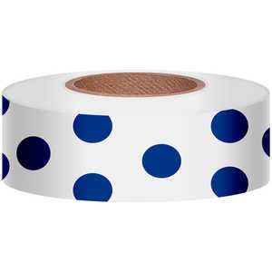 "Polka-Dot Vinyl Flagging, Blue Dot on White, 1-3/16"" x 300'"