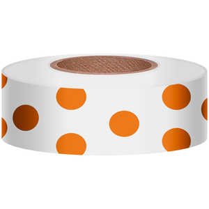 "Polka-Dot Vinyl Flagging, Orange Dot on White, 1-3/16"" x 300'"