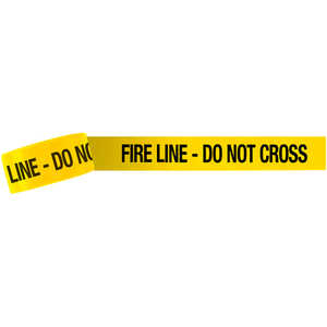 """FIRE LINE – DO NOT CROSS"" Barricade Tape, 3˝W x 1,000´L, 3 mil thick"