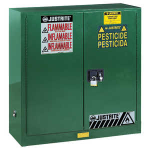 Justrite Pesticide Safety Storage Cabinet, 30-Gallon Capacity