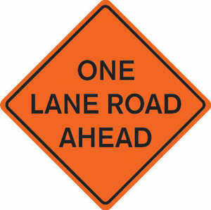 "48"" x 48"" Mesh Sign, ""ONE LANE ROAD AHEAD"""